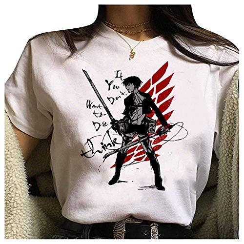 Attack On Titan Tshirt Damen, Teenager Mädchen AOT Scouting Legion Aufklärungstrupp Anime 3D T-Shirts Levi Ackerman Eren Mikasa Sommer Shirts Kurzarm Tshirts Blusen Shirt Oberteile Tops (26-47,S)