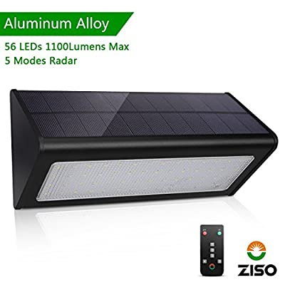 (2018 New Version) ZISO Solar Light Super Bright 56LED, 5 Modes Switch with Remote Control, Wireless Waterproof Security Motion Sensor Outdoor Light for Yard, Patio, Fence, Driveway