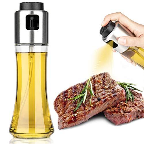 Öl Sprüher Edelstahl Öl Sprayer öl Sprüher Flasche, Multifunktional Olivenöl Sprüher, Essig Spritzer Ölspender, Öl Sprühflasche Öl Spray für Kochen, BBQ, Grillen, Pasta, Salate (180ml)