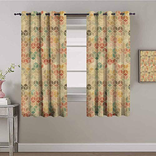 Sound Proof Curtains for Window Geometric Soft Toned Retro Inspired Cube Pattern with Squares and Lines Vintage Old School Multicolor Blackout Window Drapes 72x108 Inch