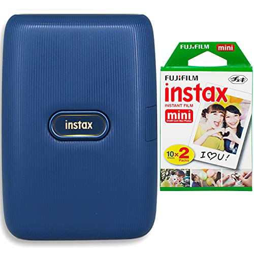 Fujifilm Instax Mini Link Smartphone Printer (Dark Denim) + Fujifilm Instax Mini Instant Film (20 Sheets) Bundle with Sturdy Tiger Stickers + Deals Number One Cleaning Cloth