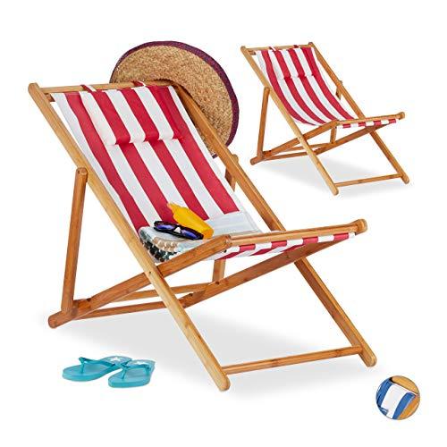 Relaxdays, rot Liegestuhl im 2er Set, Klappliegestuhl aus Bambus, Stoffbezug mit Kissen, faltbar, für Garten & Balkon