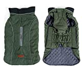 Rantow Reflective Dog Coat Winter Vest Loft Jacket for Small Medium Large Dogs Water-Resistant Windproof Snowsuit Cold Weather Pets Apparel, 6 Colors 7 Sizes (S, Green)