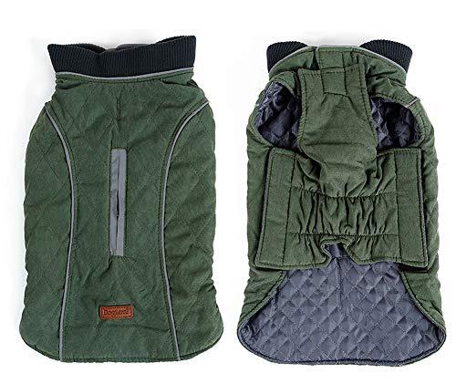 Penivo 6 Farben Haustier Jacke Hundebekleidung Wasserabweisend Winter Warme Kleidung Weste Reversible Winterjacken Mäntel für Kleine Mittelgroße Hund (M, Grün)