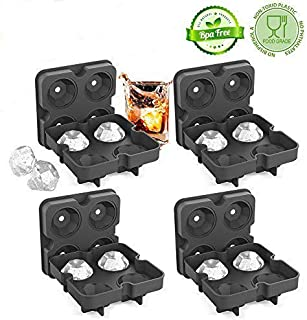 Ice Cube Trays with Lids(4 PACK), Diamond-Shaped Silicone BPA-Free Stackable Easy Release Ice Molds Multifunctional Storage Containers for Ice, Whiskey, Candy and Chocolate by Bella Vino