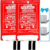 JJ CARE Fire Blanket for Home +2 Hooks, Fire Suppression Blanket, Emergency Fire Blanket for People, Fire Blanket Kitchen, Emergency Use - White