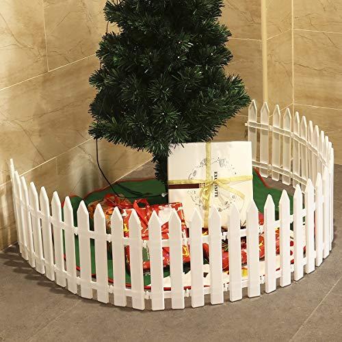 N\A Adornos de Navidad Decoración del jardín de Fiesta de la Boda del árbol de Navidad de la Navidad (25 Piezas) de plástico Blanco de Cerca de piquete hogar Miniatura Decoraciones Feliz Navidad