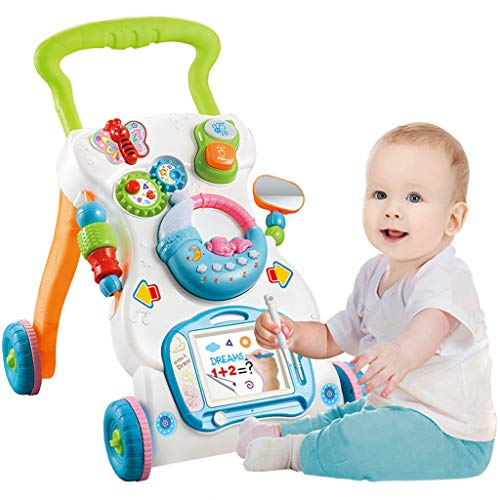 OKBOP Sit-to-Stand Learning Walker, Baby Walker Stroller with Lights Music, Kids Activity Center with Draw Panel, Toddlers Educational Push Pull Walker Cart Toy with Wheels (Multicolor)