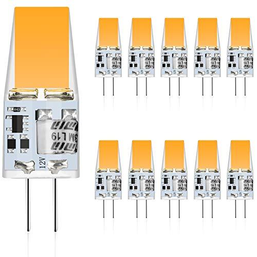 MUSUNIA Lot de 10 ampoules LED G4 3 W équivalent aux ampoules halogènes 35 W Blanc chaud 3000 K 300 lm 12 V AC/DC G4 Ampoule LED sans scintillement Intensité non variable