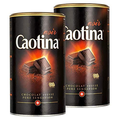 Caotina noir, Cacao en Polvo de Chocolate Oscuro Suizo, Bebida Caliente de Chocolate, Pack Doble, 2 x 500 g