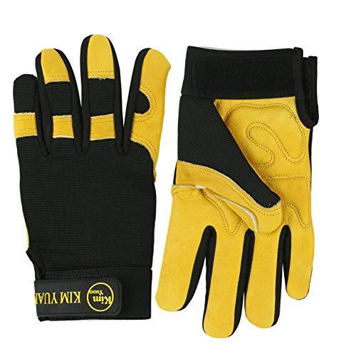 KIM YUAN lederen extra grip synthetische motorcross handschoen met verdikte palm rust voor motorrijden klimmen, schieten, vechten, mannen & vrouwen,