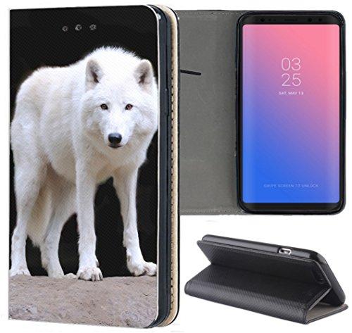 Samsung Galaxy S5 / S5 Neo Hülle Premium Smart Einseitig Flipcover Hülle Samsung S5 Neo Flip Case Handyhülle Samsung S5 Motiv (1446 Wolf Hund Weiß)