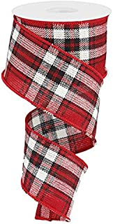 Plaid Woven Wired Edge Ribbon, 2.5