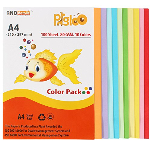 PIGLOO™ Premium A4 Color Paper for Photocopy, Art & Craft - 100 Sheets. 10 Colour. 80GSM