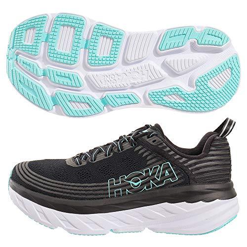 professional Hoka One 1019270 Bondi 6 Maximalist Running Shoes (Black Aqua Sky, 8 B (M), USA Ladies)