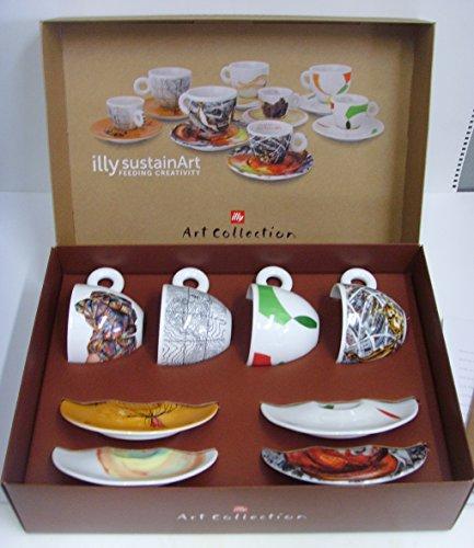 4 tazas de café illy art collection sostenido art Expo 2015