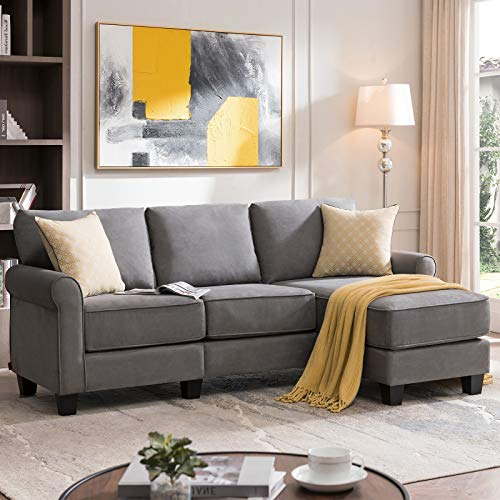 Nolany Reversible Sectional Sofa Couch for Small Apartment L Shape Sofa Couch 3-seat Sectional Corner Couch (Dusty Grey)