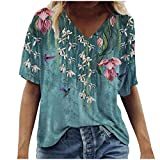 Janly Clearance Sale Women's Blouse , Ladies Fashion Casual Plus Size Scenic Flowers Printing Round Neck T-Shirt Tops, for Winter Christmas Valentine's Day Deals (Blue-S)