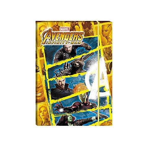 Cartellina con Elastico Avengers Infinity War - Formato 34 x 25 cm - Per Scuola Elementare SET DA 2 PEZZI
