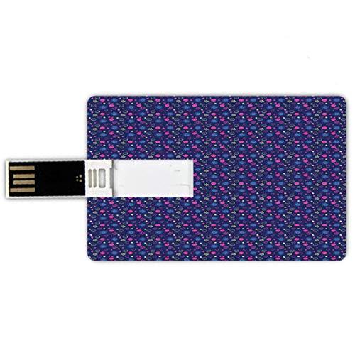 USB-Sticks 32GB Kreditkartenform Kindergarten Memory Stick-Bankkartenstil Baby-Muster mit Smileys Blumen und Herzen fröhlich Kindheitsthema,Multicolor, Wasserdichte stift daumen schöne jump drive u fe