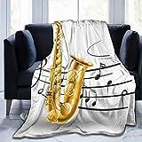 NOLOVVHA Manta de Cama,Elegante saxofón Antiguo con Plantilla Solo Vibes Print Design,Sofá Cama de Microfibra para Todas Las Estaciones,40' x 50'