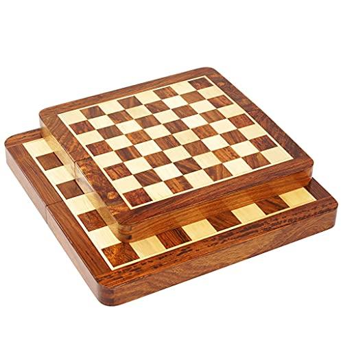 Ajedrez Familiar, Tamaño 9.8'X9.8, Adecuado para niños, Adultos 11.8'X11.8 Ajedre de ajedrez para niños, Staunton Student Magnetic Tablero (Color : Brown, tamaño : 9.8'+11.8')