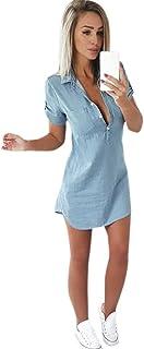 Overdose Vestido De Manga Corta para Mujer Vestido De Mezclilla SóLido Turn Down Collar Mini Vestido Casual Mini A-Line