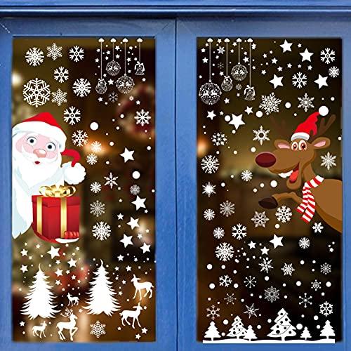 Yutdeng Natale Adesivi Addobbi Natale Vetrofanie Babbo Natale e Renne Adesivi Grandi Finestra Stickers Fai da Te Adesivi albero di Natale Casa Decorazione
