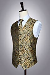 Hisdern Men's Paisley Floral Jacquard Waistcoat&Necktie and Pocket Square Vest Suit Set, Gold, L(Chest 46inch) #4
