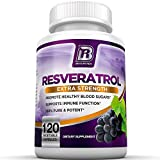 BRI Resveratrol - 1200mg Potent Trans-Resveratrol Natural Antioxidant Supplement with Green Tea and Quercetin Promotes Anti-Aging, Heart Health, Brain Function and Immune System