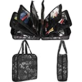 PACMAXI Sewing Accessories Storage Bag, Knitting, Craft Tools and Accessories Organizer, Roomy Carrying Bag for Sewing Tools and Accessories (White Tree with Black Background)