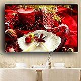 Vela de Navidad tenedor cuchillo lienzo pintura carteles e impresiones cocina pared arte comida fotos60x80cmsin marco