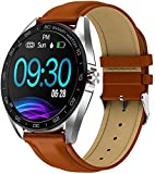 KLT IP68 Waterproof Smart Watch 1 3 Inch HD Full Touch Round Screen Heart Rate Sleep Monitor Sport Smartwatch Fitness Tracker-One Size_Brown Leather
