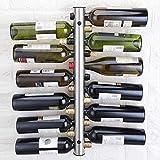 Yaoliangliang Botellero Soportes De Vino Acero Inoxidable 8 Botellas Wine Rack Bar Soporte Montado En La Pared 42.5X5Cm