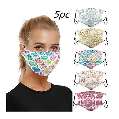 5 Stück Atmungsaktive Mundbedeckung Stoff Wiederverwendbare mundschutz Unisex mundschutz waschbar Baumwolle Anti-Staub mundschutz für Laufen, Radfahren (A)