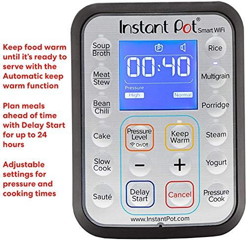 Instant Pot Smart WiFi 8-in-1 Electric Pressure Cooker, Sterilizer, Slow Cooker, Rice Cooker, Steamer, Saute, Yogurt Maker, Cake Maker, and Warmer, 6 Quart, 13 One-Touch Programs