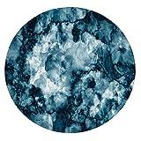 Mantel de poliéster con bordes elásticos, piedra de mármol antiguo con efecto fractal borroso abigarrado, para mesas redondas de 124 a 139 cm, perfecto para protección de mesa, color azul