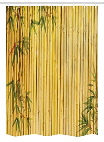 """Ambesonne Bamboo Print Stall Shower Curtain, Mustard Colored Woodland Background of Tropic Tree Branches Exotic Plants Peaceful Artwork, Fabric Bathroom Decor Set with Hooks, 54"""" X 78"""", Green Yellow"""