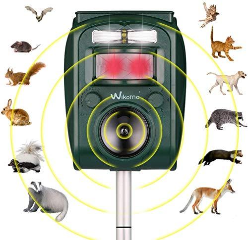 Ultrasonic Animal Repeller Solar Powered Waterproof Motion Sensor for Plants Bird Cats Dogs Bat Mouse Squirrels Racoon Groundhog Skunk in Garden Outdoor