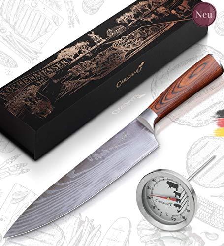 Caridano® Messerset - Fleischmesser inkl. Bratenthermometer - Kochmesser mit ergonomischem Holzgriff aus Pakka Holz - Küchenmesser aus hochwertigem MOV Stahl mit Damast Lasermuster - Knife Set