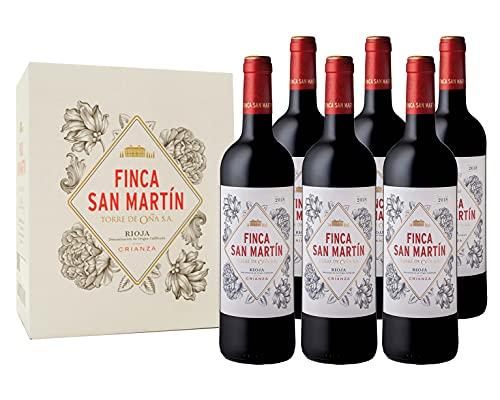 Finca San Martín - Vino Tinto Crianza D.O Rioja Alavesa Variedad Tempranillo | Añada 2017 | Pack Estuche 6 Botellas de 75cl