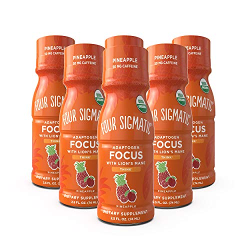 Four Sigmatic Mushroom Focus Shot with Lion's Mane - USDA Organic with Lions Mane Mushroom Extract - Natural Pineapple Flavor - Focus, Productivity - 6 count