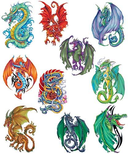 Fantasy Dragons Temporary Tattoos, Set of 10 Colorful Dragon Tattoos
