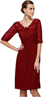 Women's V-Neck Chiffon Lace Knee Length Mother of The Bride Dresses for Wedding Formal Dress with Sleeves