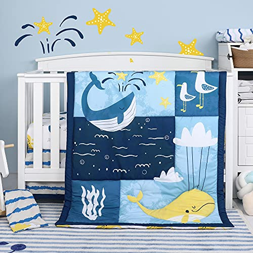 TILLYOU 4-Piece Ocean Theme Crib Bedding Set for Boys, Luxury Nursery Bedding Essential Including 1 Padded Comforter, 1 Crib Skirt and 2 Silky Soft Microfiber Crib Sheets, Standard Size, Whales