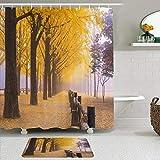ZELXXXDA Juegos de Cortinas de Ducha con alfombras Antideslizantes,Naturaleza Medio Ambiente Fila Ginkgo Tree OT, Alfombra de baño + Cortina de Ducha con 12 Ganchos