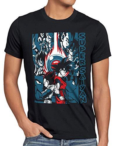 style3 Goku Vegeta Super Saiyan Camiseta para Hombre T-Shirt Turtle Ball z Roshi Dragon, Talla:XL
