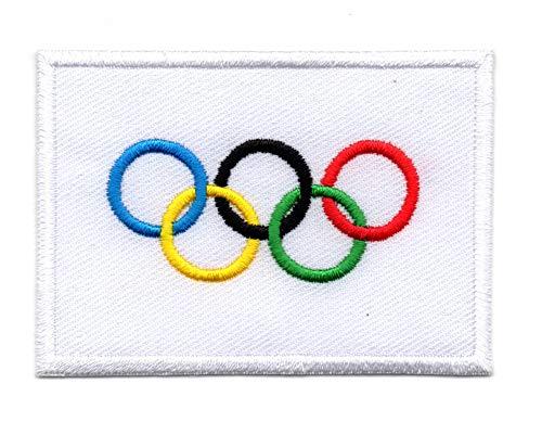 De Olympische vlag, Olympische symbolen Iron on Patch Naai op Geborduurde Badge toegepast