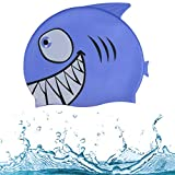 Zelta Waterproof Swimming Cap Animal Shaped Seamless Silicone for Kids  (Blue Shark)