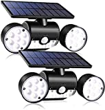 Outdoor Solar Lights, 30 LED Solar Security Lights with Motion Sensor Dual Head Spotlights IP65 Waterproof 360° Adjustable LED Solar Motion Lights for Front Door Garage Patio Deck (Pack 2)